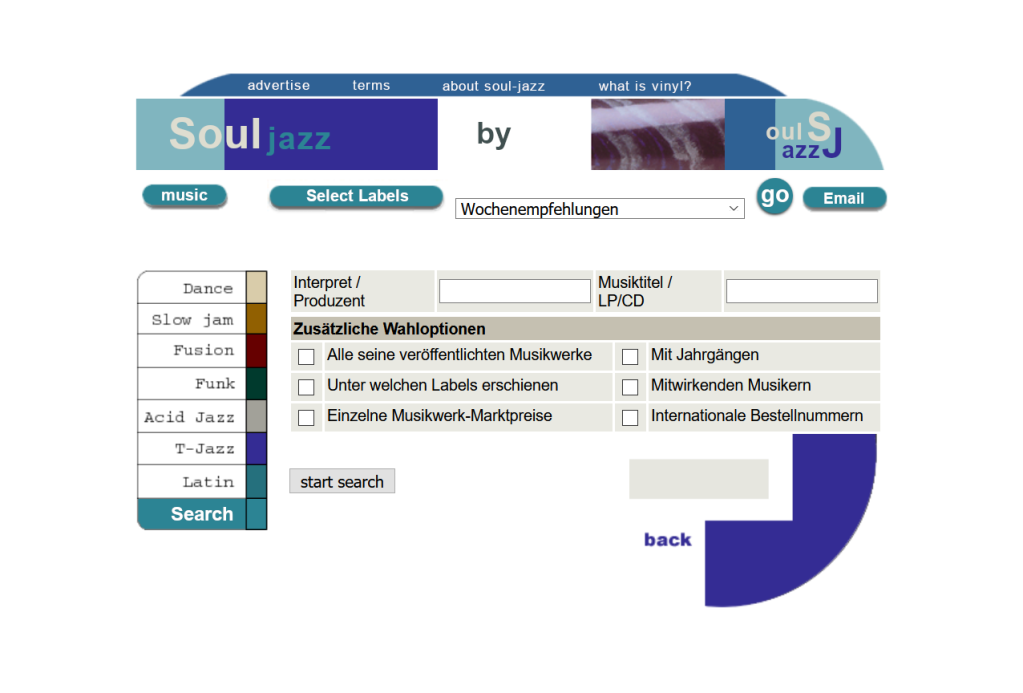 Abrufplattform für eine Datenbank mit 250.000 Datensätzen